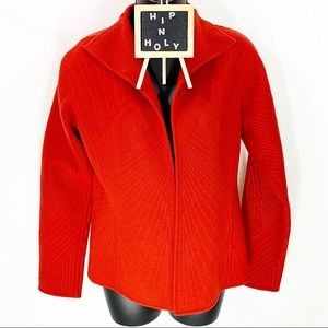 ELLEN TRACEY OPEN FRONT JACKET BLAZER ORANGE 4